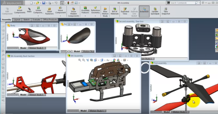 SolidWorks |Helicopter|: The Final Assembly