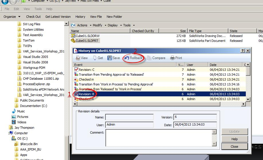 How to Roll Back a Revision in SolidWorks Enterprise PDM