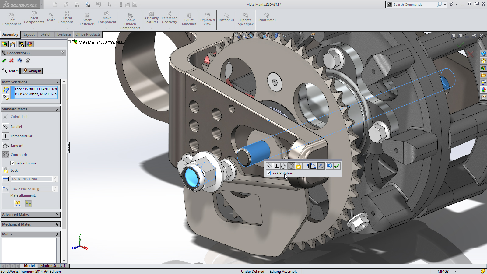 SolidWorks 2014 Sneak Peek: Lock Rotation for Cylindrical Mates