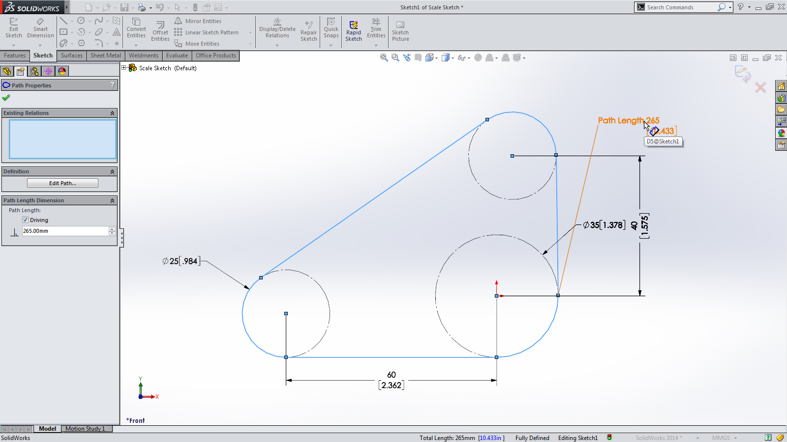 SolidWorks 2014 Sneak Peek: Path Length Dimension