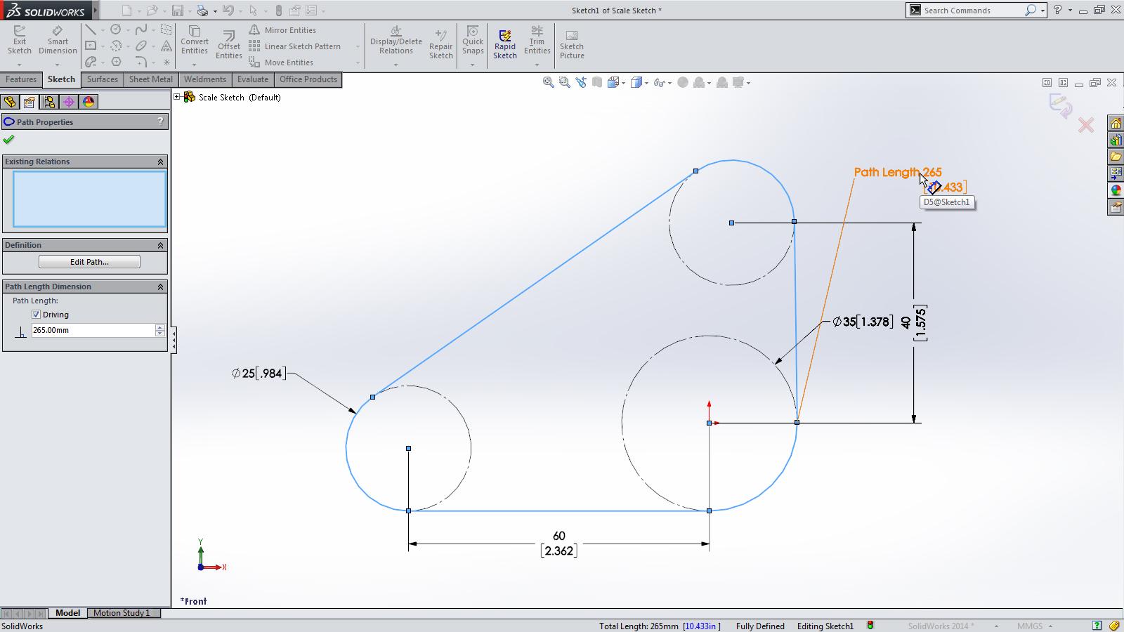 SolidWorks 2014 Sneak Peek: Path Length Dimension