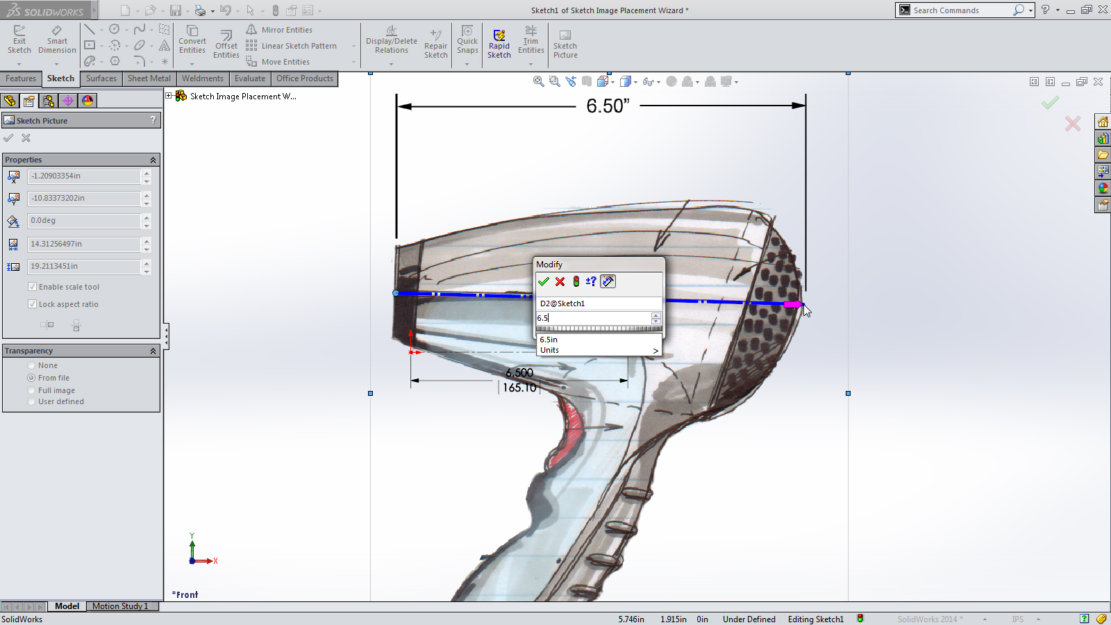SolidWorks 2014 Sneak Peek: Sketch Picture Scale Tool