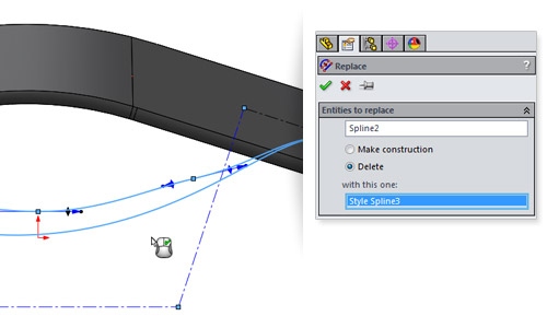 New in SolidWorks 2014: Replace Sketch Entities
