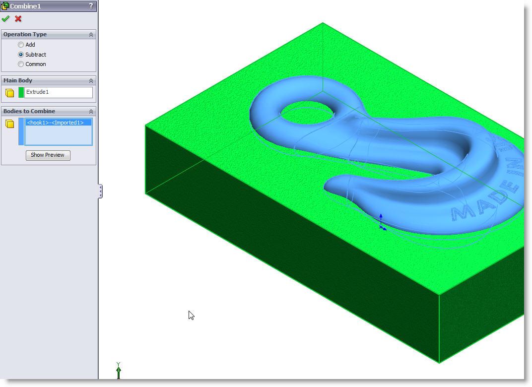 SolidWorks Combine Subtract