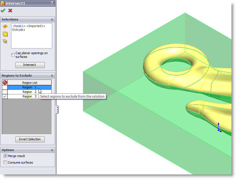 SolidWorks Intersect