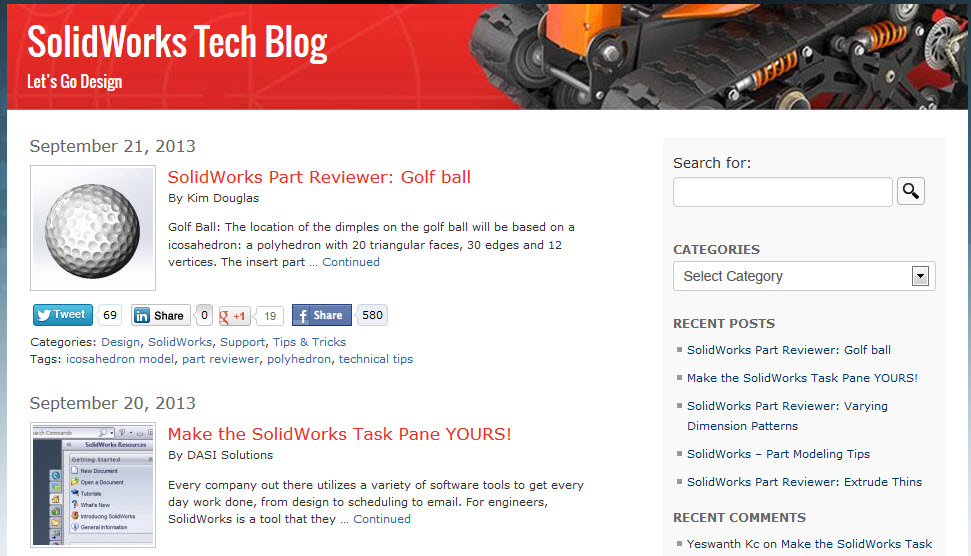 Looking for tricks and tips? Check out the SolidWorks Tech blog!