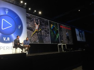 Rick Chin talking to Hugh Herr about rock climbing with prosthetics at SolidWorks World 2014