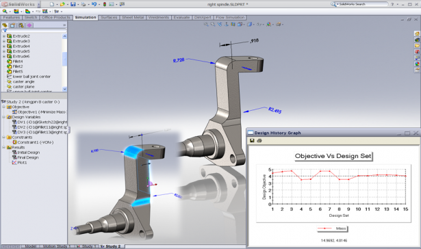 Perform structural optimization analysis during design using CAD-embedded SOLIDWORKS Simulation