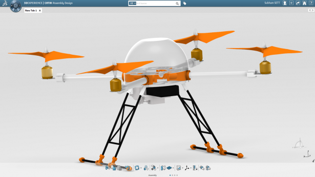 Final quadcopter design in the 3DEXPERIENCE Platform
