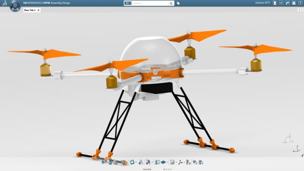 Final quadcopter design in the 3DEXPERIENCE Platform