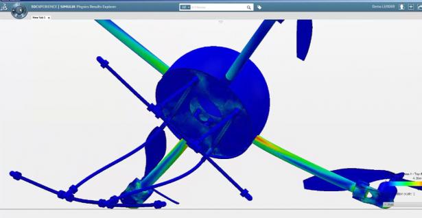 Stress contours during a virtual crash analysis