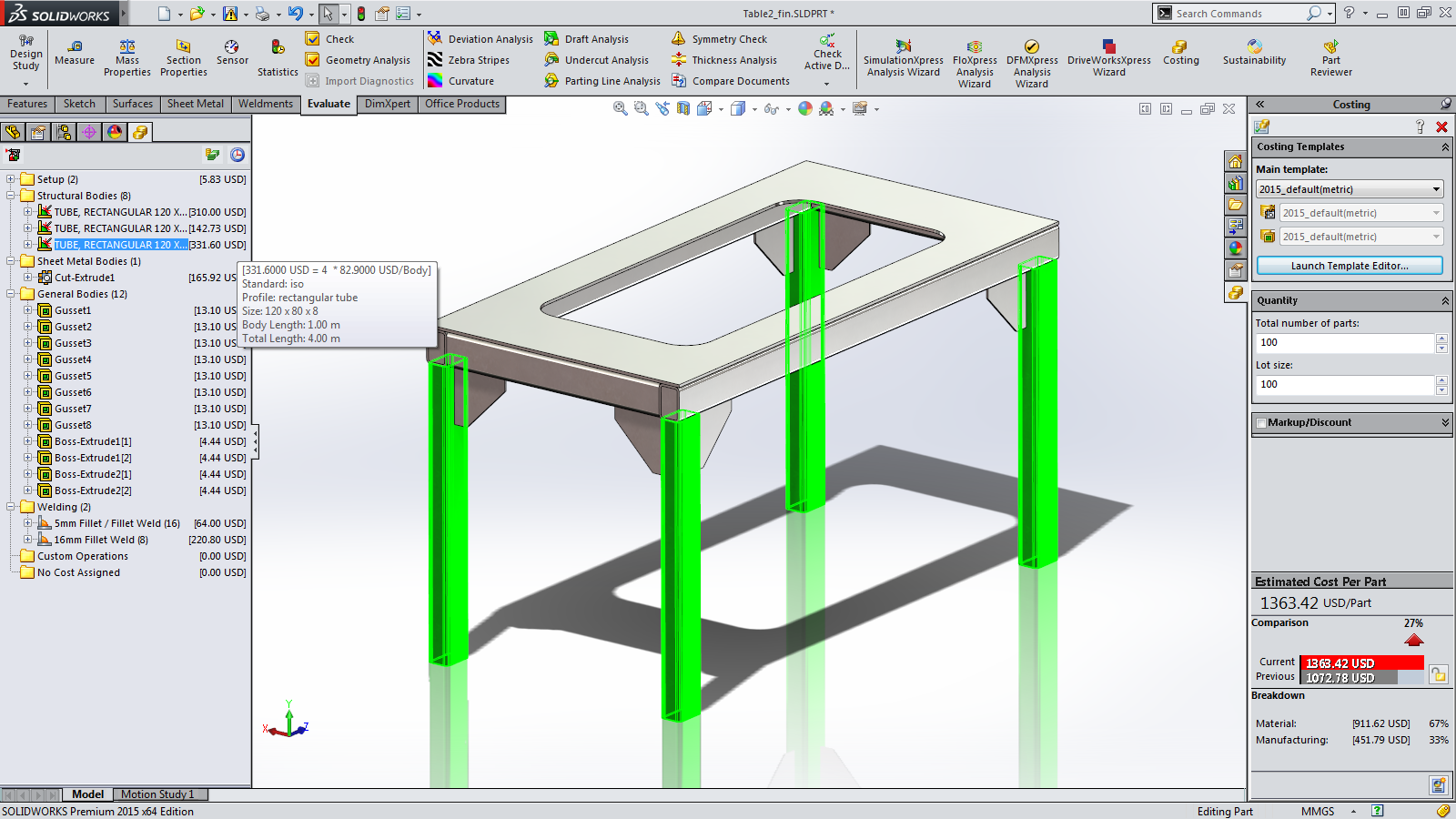 Sneak Peek: 15 Features coming in SOLIDWORKS 2015 – Costing for Weldments