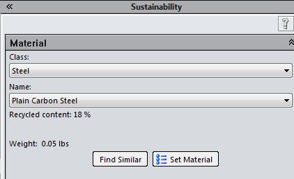 Material definition for environmental impact simulation