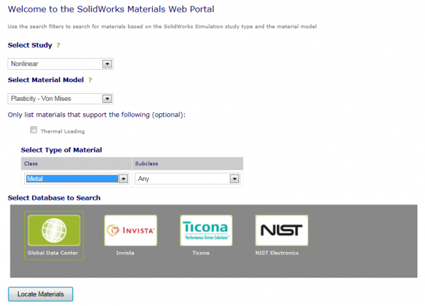 SOLIDWORKS Material Web portal Search tool
