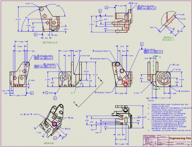 2d engineering drawing