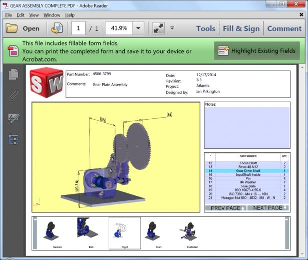 Figure 3.1: SOLIDWORKS MBD 3D PDF