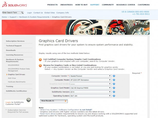 A list of certified hardware devices for SOLIDWORKS software can be found at https://www.solidworks.com/sw/support/videocardtesting.html