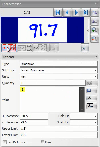 In this example, the 91.7 dimension is not properly extracted due to the font used in the drawing