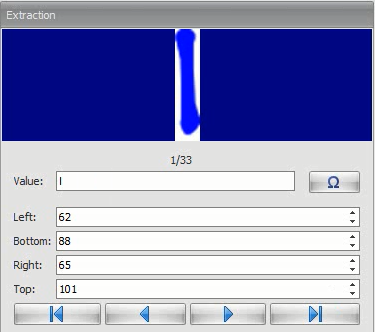 The captured zone can be precisely adjusted using the controls in the extraction window. Symbols can even be assigned.