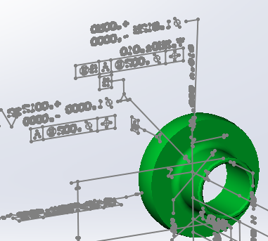 Graphical PMI example: 3D PMI in sketch lines and curves.