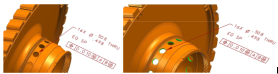 Comparison between human-readable PMI and machine-readable PMI on a Turbine Disk Model (Source: Technical Data Package for the Digital Enterprise, Kong Ma, Rolls-Royce Corp, 2014)