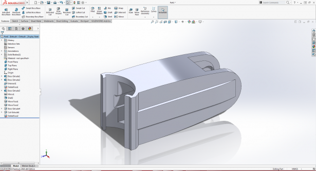 Though the original SOLIDWORKS 2005 model was no longer available, I remodeled the part in SOLIDWORKS 2016.