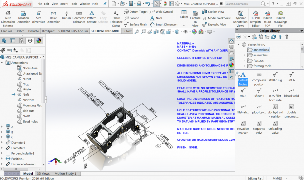 Figure 4: Drag and drop a notes template from the Design Library to a model
