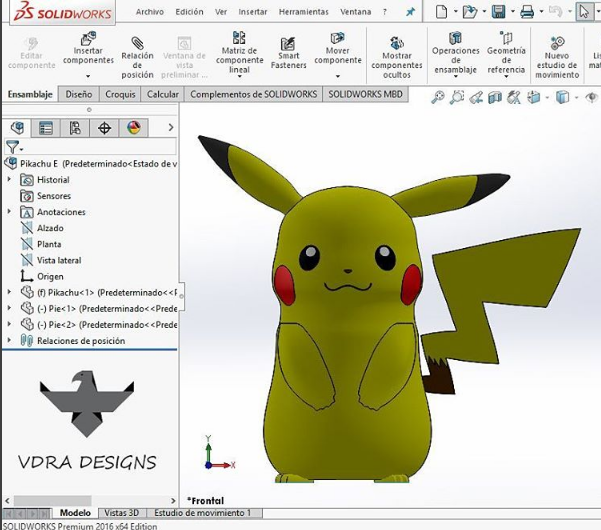 This Pikachu character was created in SOLIDWORKS 2016 by Victor Armas of VDRA Designs.