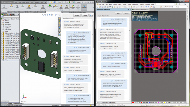 Managed change process between Altium Designer and SOLIDWORKS® with comment and revision history