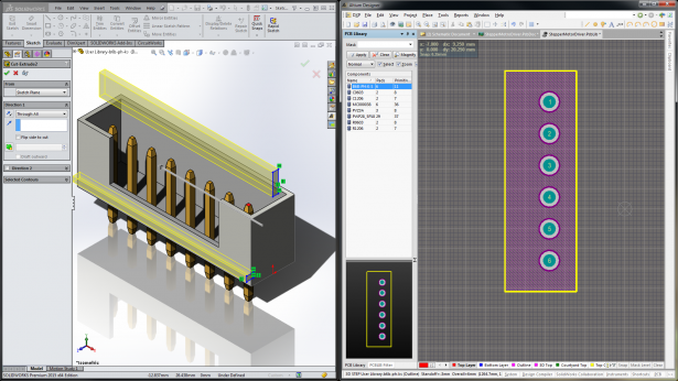 Working on the same component in Altium Designer and SOLIDWORKS with unified component data