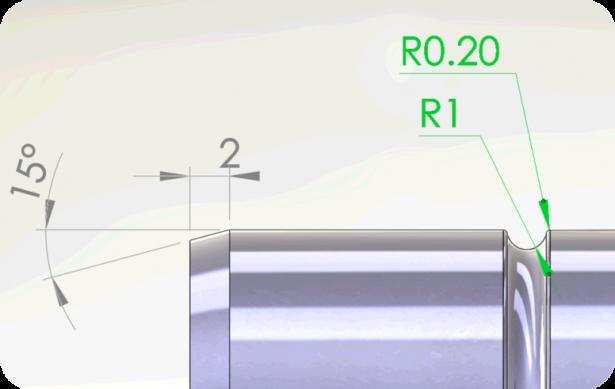 Abbildung1 Anmerkungen zu Silhouettenkanten für die Definition einer Fase und einer Entlastungsnut.