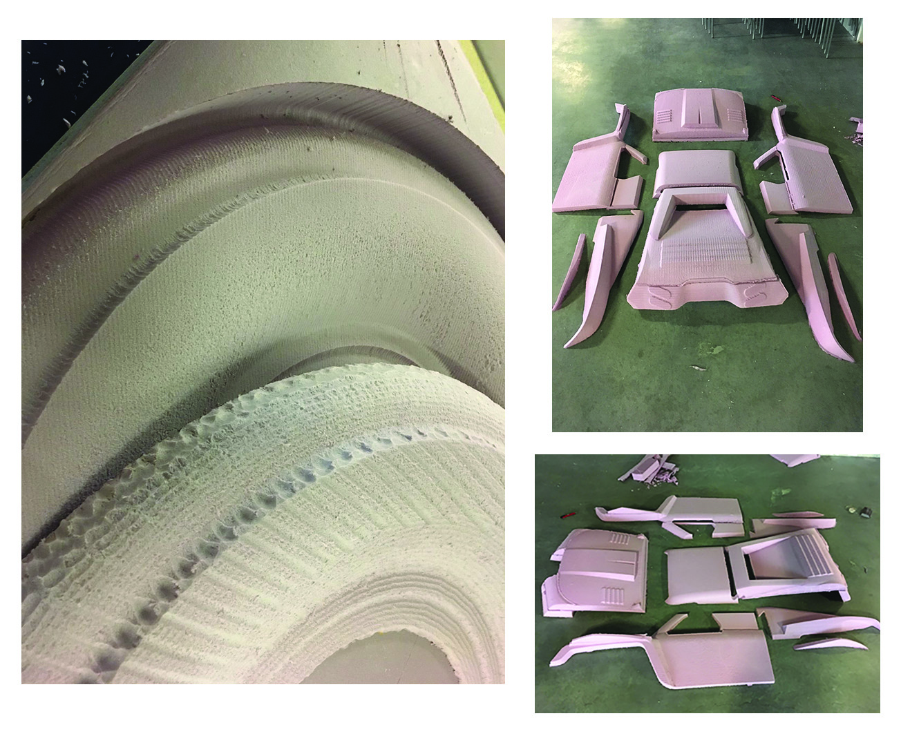 Left: A wheel piece machined with Santiago Laverde's help vs. a wheel piece machined without. Note the absence of ridges on the new piece. Right: The finished truck body parts