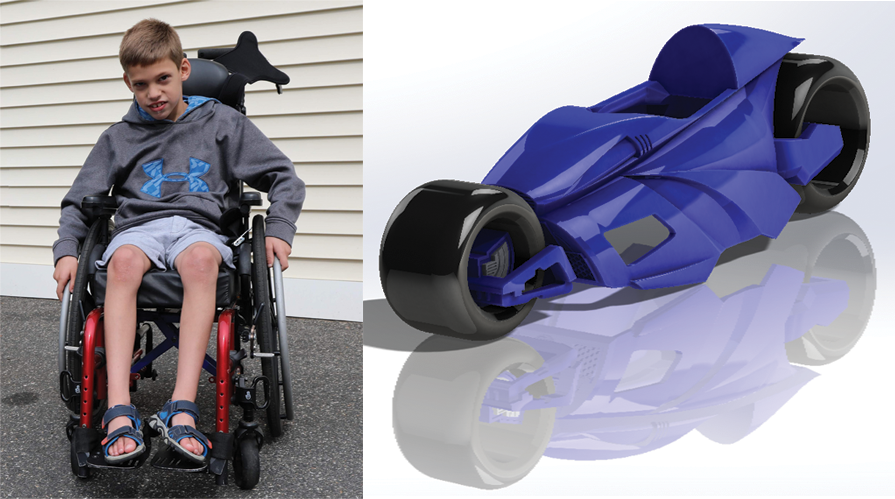 SOLIDWORKS Motorcycle Madness-Meet Ben. Ben and an early CAD version of his motorcycle costume