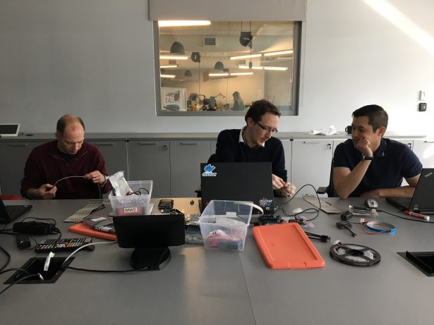 Electronics workshop led by Nicolas (middle)
