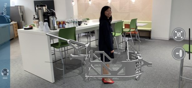 Annie Cheung in an AR version of the costume's frame
