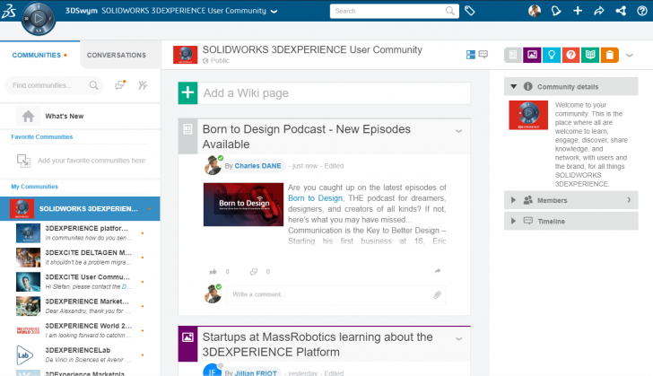 Join the Community. Join the Conversation. The SOLIDWORKS 3DEXPERIENCE User Community