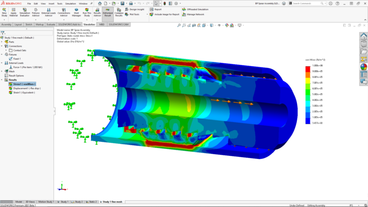 SOLIDWORKS Simulation 2021: Enhanced Contact for Faster, More Stable and Accurate Results