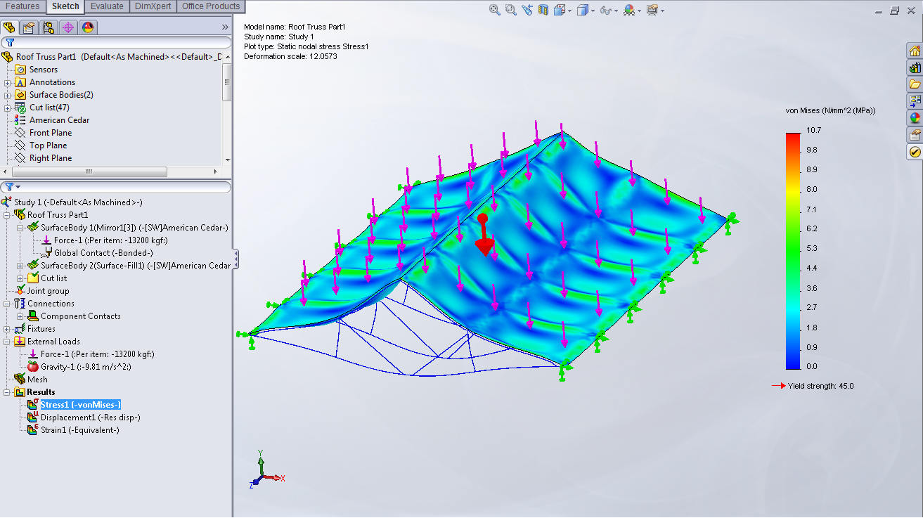 Solidworks simulation reporting to the roof for snow duty for Snow loads on roofs
