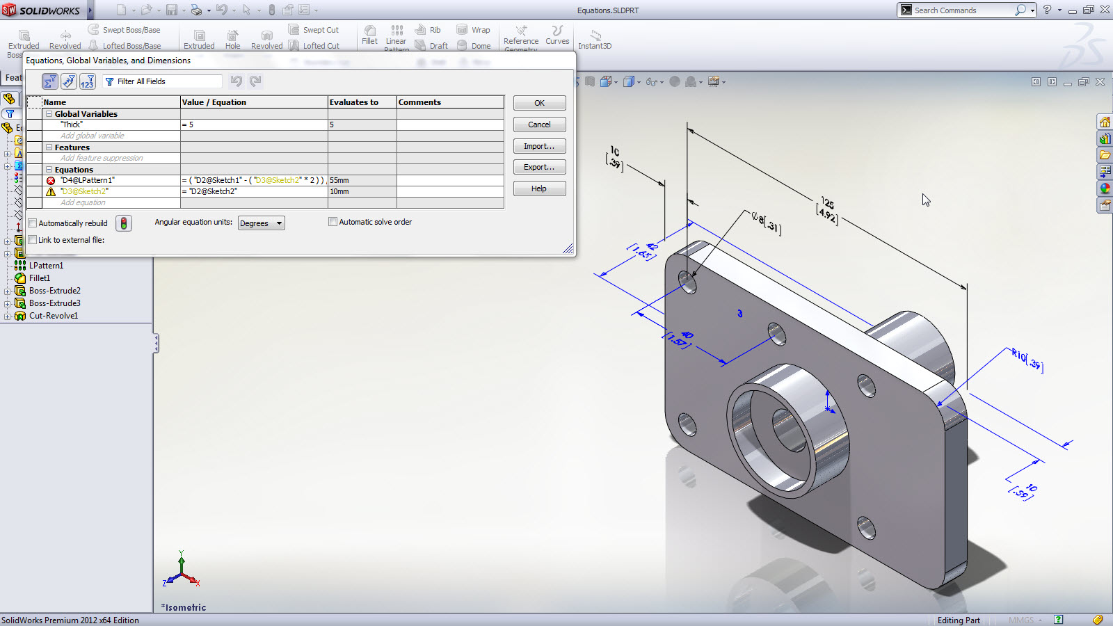 New in solidworks 2012 enhanced equation editing Simple cad online
