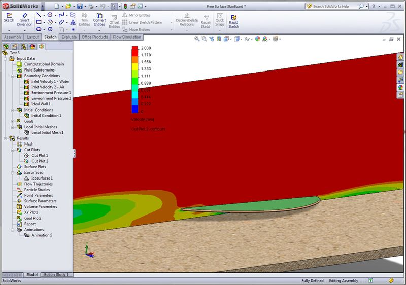 SolidWorks Simulation Velocity Bow Wave & Wake