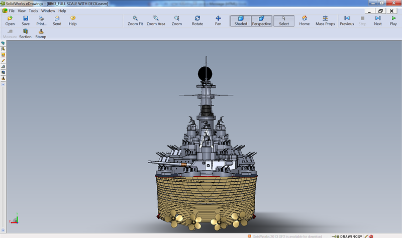 USS Missouri Modeled in SolidWorks eDrawings 2