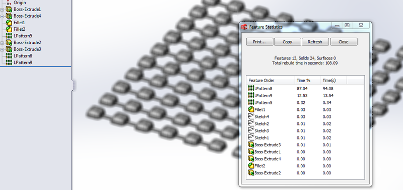 Increasing Performance in SolidWorks Patterns