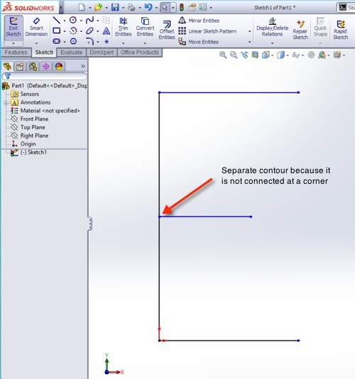Make A Single Body with Multiple Open Contours in SolidWorks