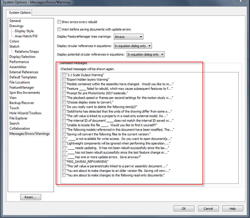 SolidWorks Dismissed Warning and Error Messages