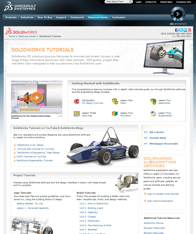 SolidWorks Tutorial Page for Learning How to Use SolidWorks