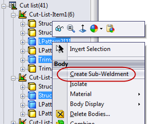 Using SolidWorks Sub-Weldments
