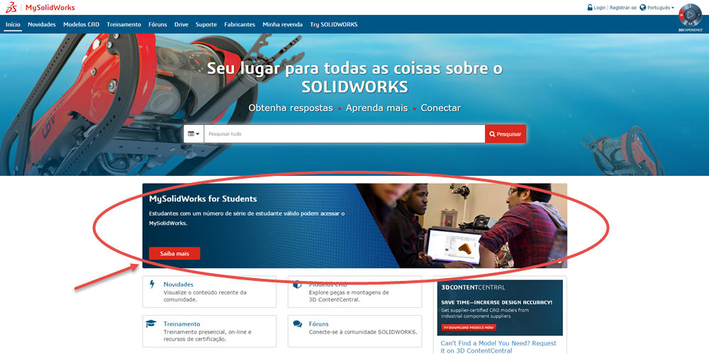 """c5a7b46d3 A primeira coisa a fazer é ir para o site do MySolidWorks. Clique no botão  """"Saiba mais"""" no banner do MySolidWorks for Students."""