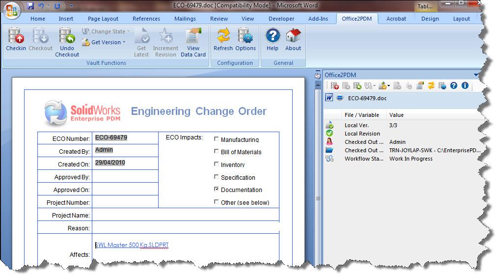 Enterprise PDM e MS Office – Você não precisa mais deixar o escritório