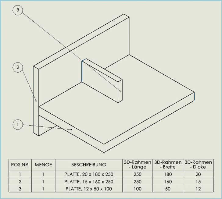 Automatische Zuschnitt-Liste einer Schweißbaugruppe aus Platten erstellen