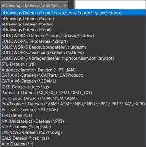 Kompatible Dateiformate in eDrawings 2021